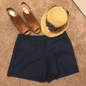 White House Black market Navy linen shorts